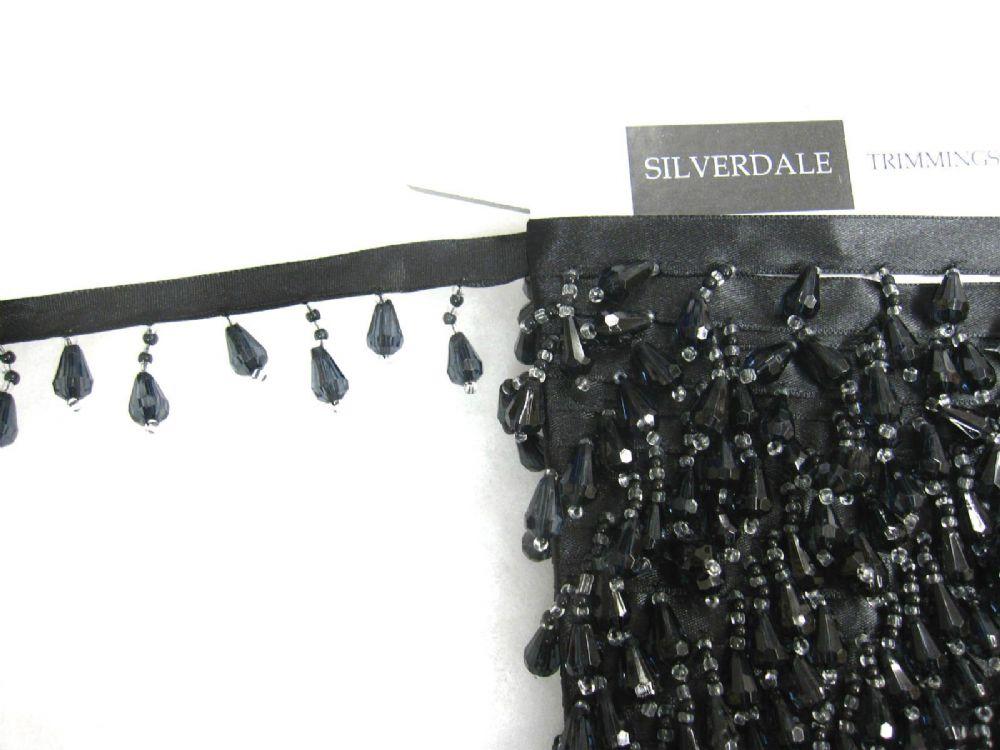 10mt Black Beaded Ribbon Curtain Trimming Fringe Fabric
